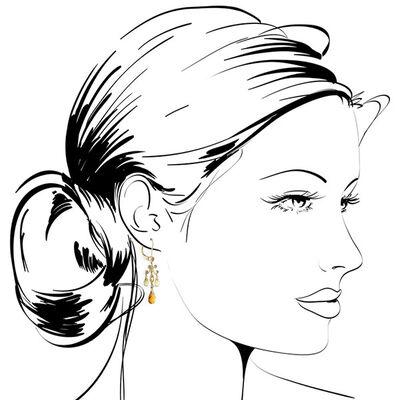 Citrine & Smoky Quartz Chandelier Earrings 14K
