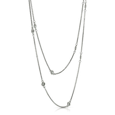 "Diamond Station Necklace 36"", 14K"