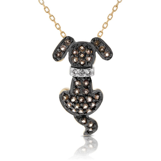 Smoky Quartz Dog Pendant 14K