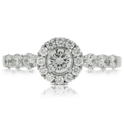 Halo Style Diamond Ring in Platinum