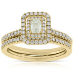 Emerald Cut Diamond Halo Bridal Set 14K