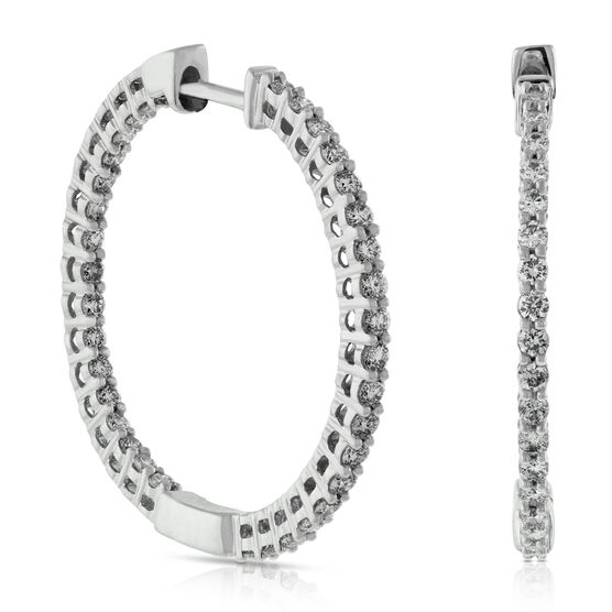 Inside Out Diamond Hoop Earrings 14K