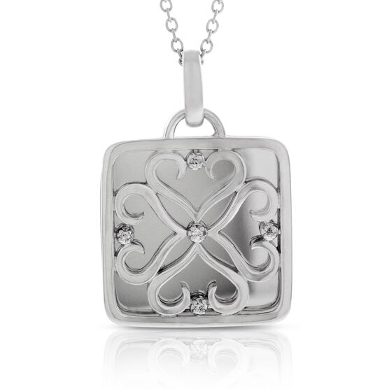 Diamond Square Pendant in Sterling Silver