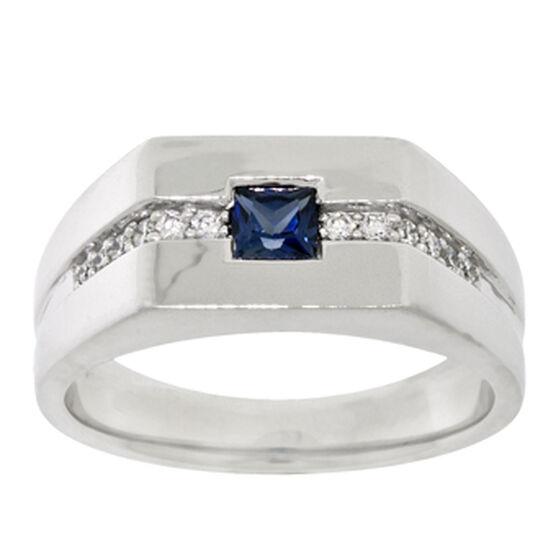 Men's Sapphire & Diamond Ring 14K