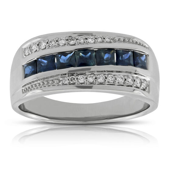 Men's Sapphire & Diamond Band 14K