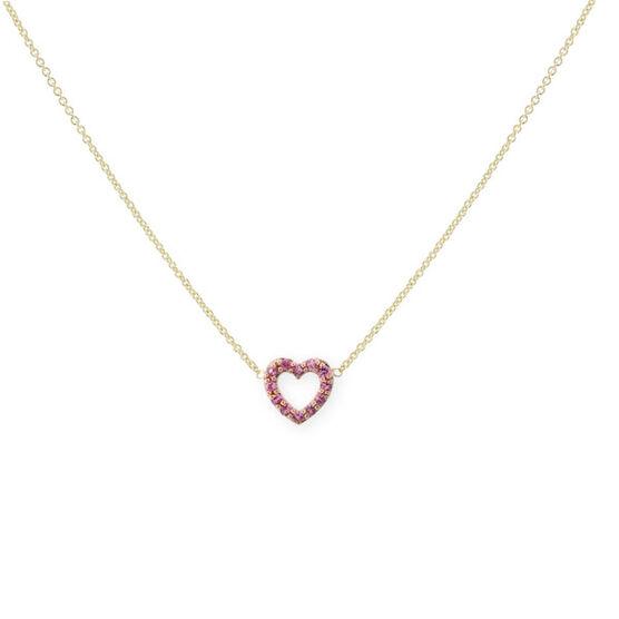 Pink Sapphire Heart Pendant 14K