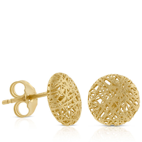Toscano Domed Button Earrings 14K
