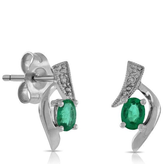 Oval Emerald & Diamond Earrings 14K