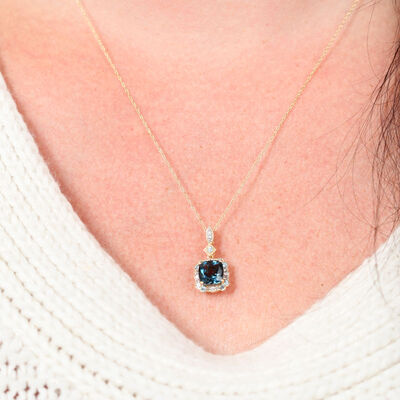 Cushion Cut Blue Topaz Pendant 14K