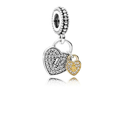 PANDORA Love Locks Charm, Silver & 14K