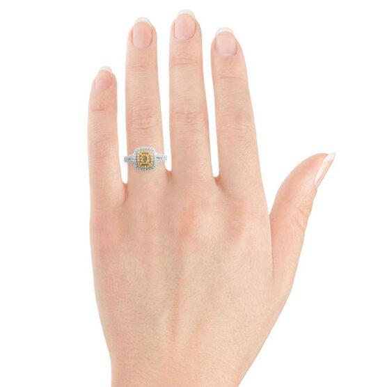 Yellow & White Diamond Double Halo Ring 18K