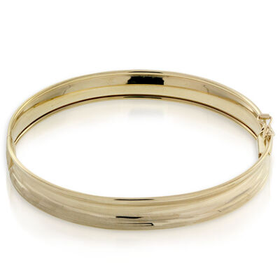 Toscano Textured Concave Bangle Bracelet 14K
