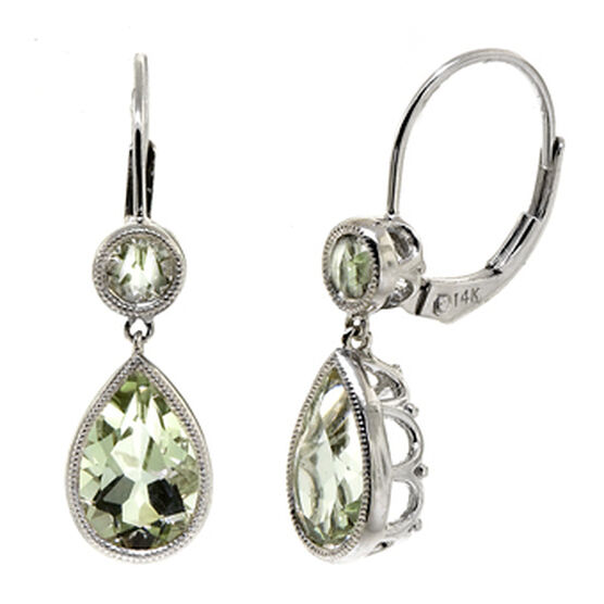 Green Quartz & White Topaz Earrings 14K