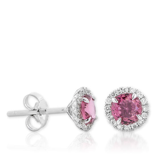 Pink Tourmaline & Diamond Earrings 14K