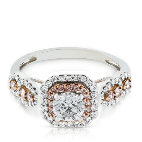Pink & White Diamond Double Halo Ring 14K