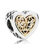 PANDORA Locked Hearts Charm, Silver & 14K