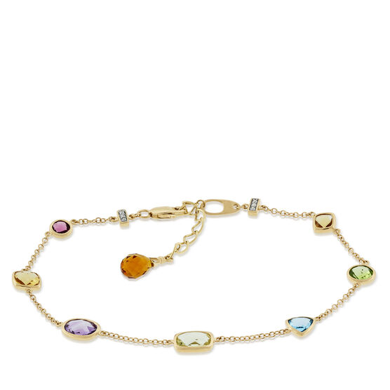 Multi-Gemstone & Diamond Bracelet 14K
