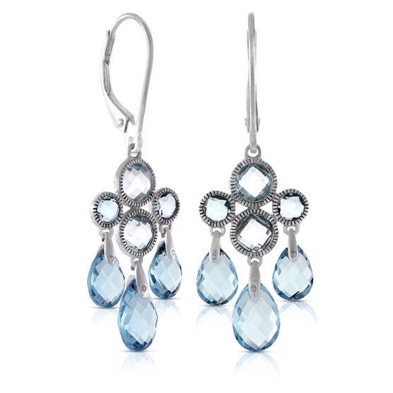 Blue Topaz Chandelier Dangle Earrings 14K