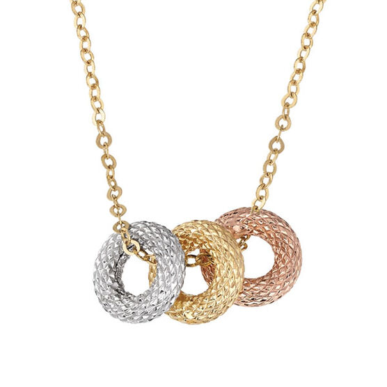 Tri- Color Circle Necklace 14K