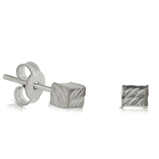 Diamond Cut Cube Earrings 14K