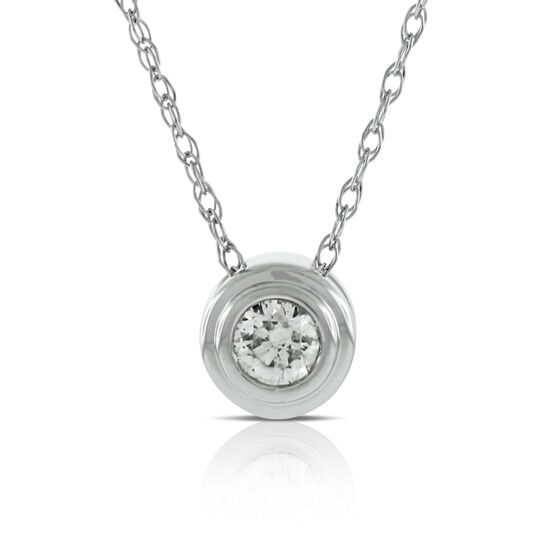 Bezel Set Diamond Pendant 14K
