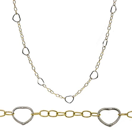 Open Heart Link Chain 14K