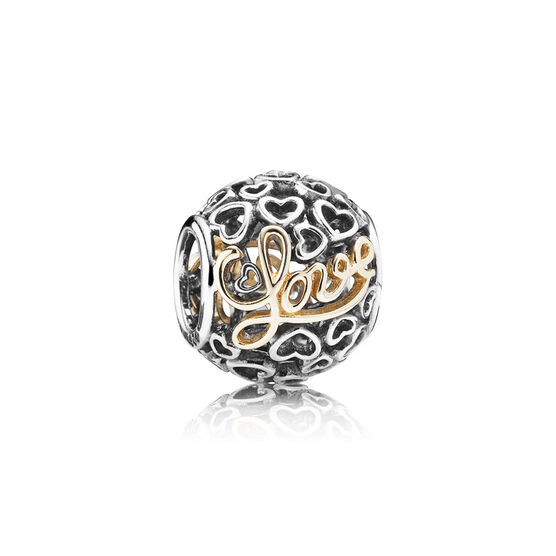 PANDORA Message of Love Charm, Silver & 14K