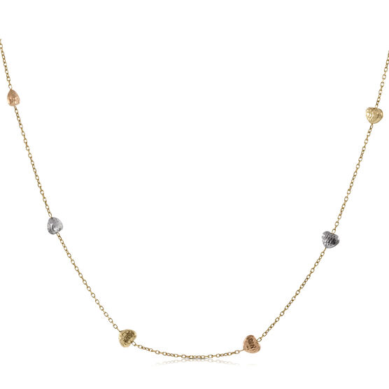 Tri-Color Heart Necklace 14K