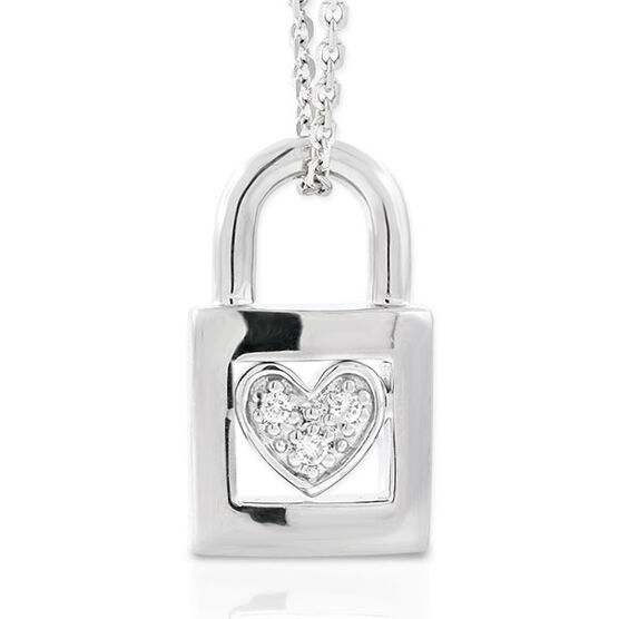 Diamond Padlock Pendant in Sterling Silver