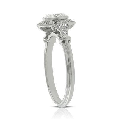 Bezel Halo Diamond Engagement Ring 14K