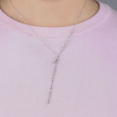 ICE FALL Baguette Cut Diamond Necklace 14K