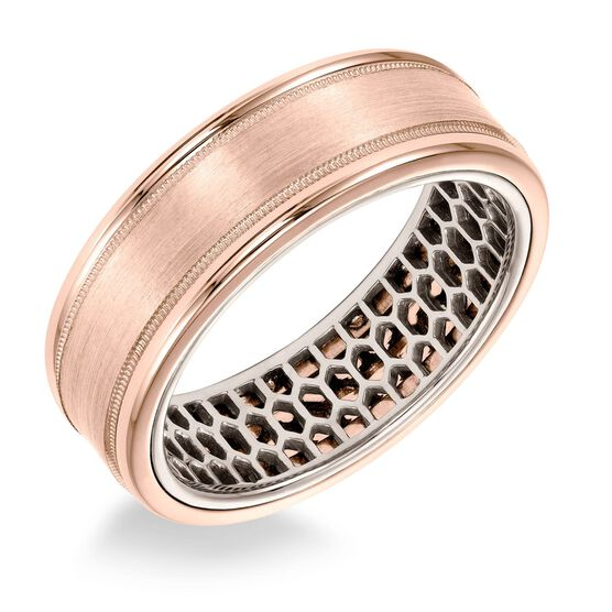 ArtCarved White Inside Rose Outside Gold Band 14K
