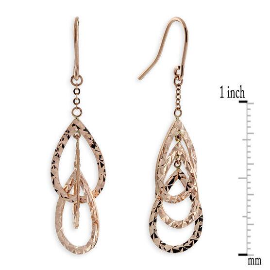 Rose Gold Triple Pear Dangle Earrings 14K