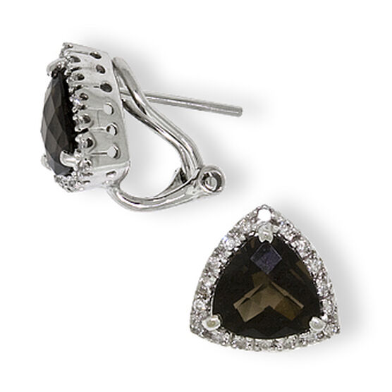 Smoky Quartz & Diamond Earrings 14K