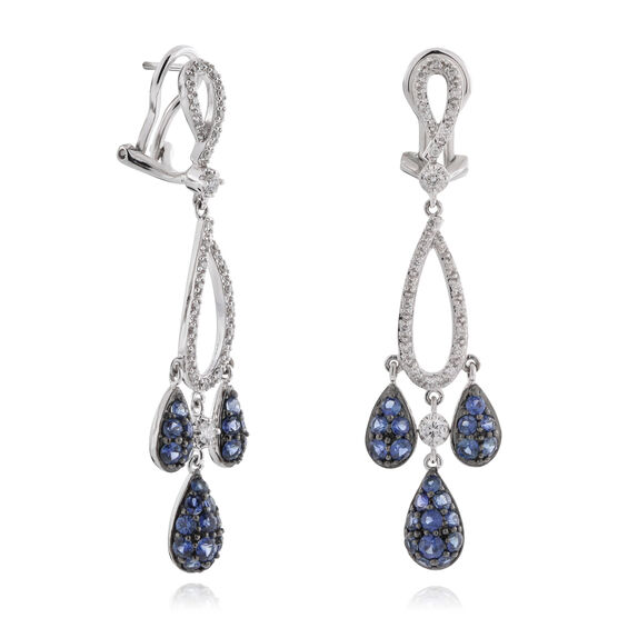Sapphire & Diamond Teardrop Earrings 14K