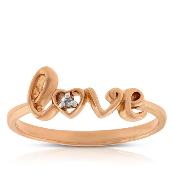 Diamond LOVE Ring in 14K