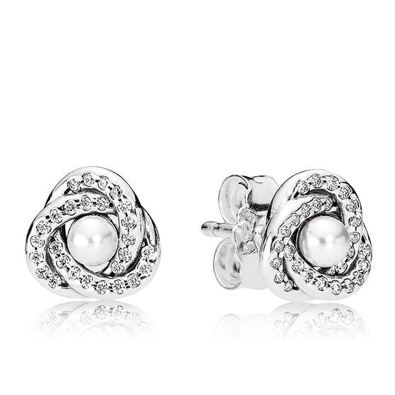 PANDORA Luminous Love Knots Crystal Pearl & CZ Earrings