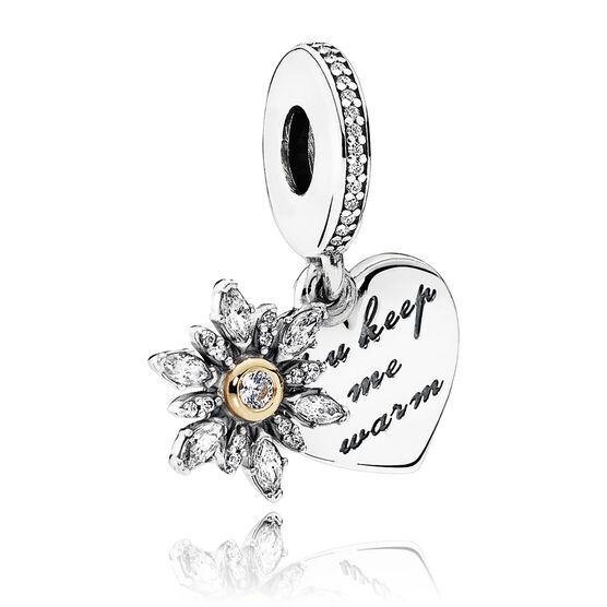 PANDORA Snowflake CZ Heart Dangle Charm, Silver & 14K