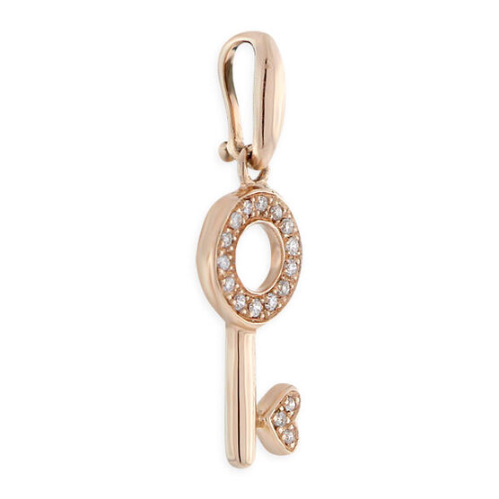 Diamond Key Charm 14K