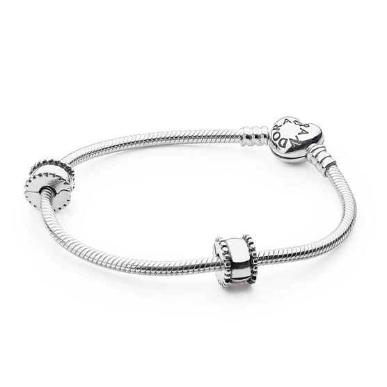 PANDORA Iconic Heart Bracelet Set with 2 Clips & 1 Charm