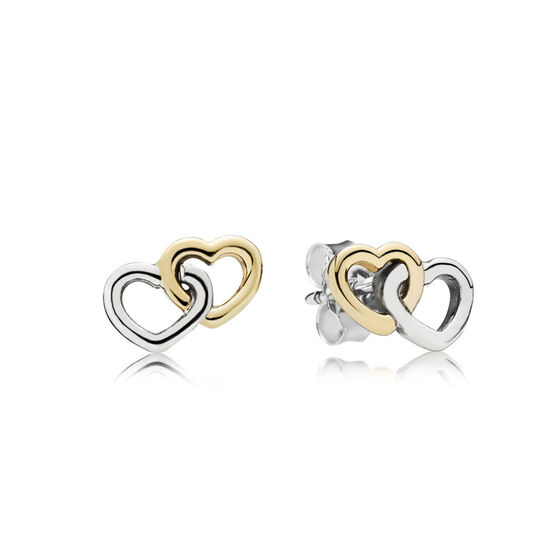 PANDORA Heart to Heart Earrings, Sterling Silver & 14K