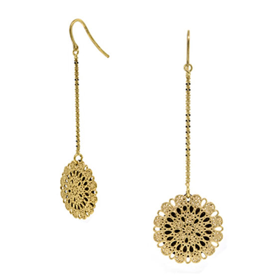 Round Cut-Out Earrings 14K