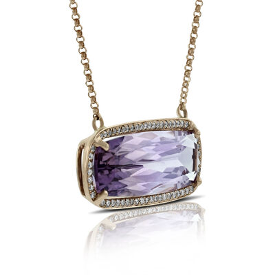 Rose Gold Amethyst & Diamond Necklace 14K
