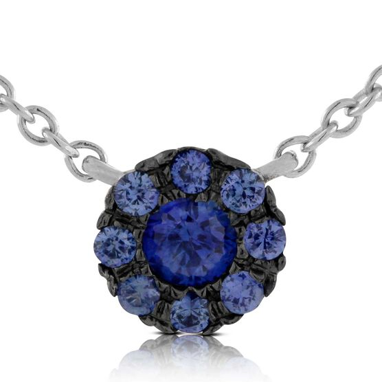 Cluster Sapphire Necklace 14K