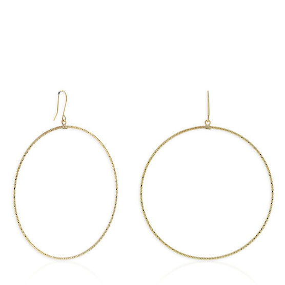 Diamond Cut Dangle Hoops 14K