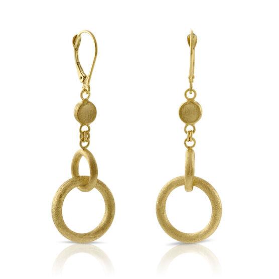 Toscano Collection Satin Circle Dangle Earrings 14K