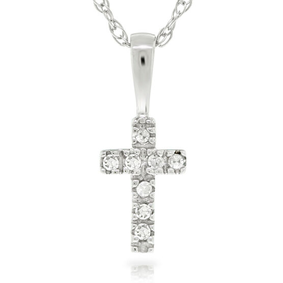Baby Diamond Cross Pendant 14K