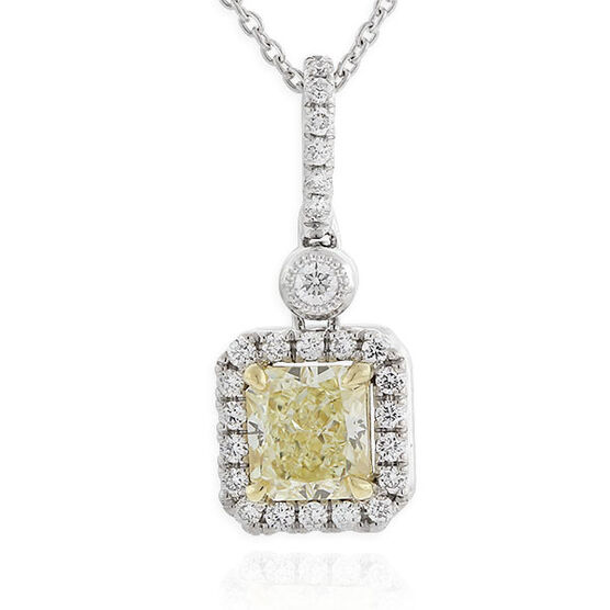 Radiant Cut Yellow Diamond Halo Pendant .74 Ct. Center, 18K