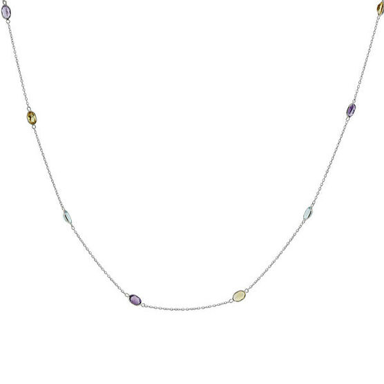 """Gemstone Necklace in Sterling Silver, 38"""""""
