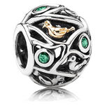 PANDORA Birds of a Feather CZ Charm, Silver & 14K